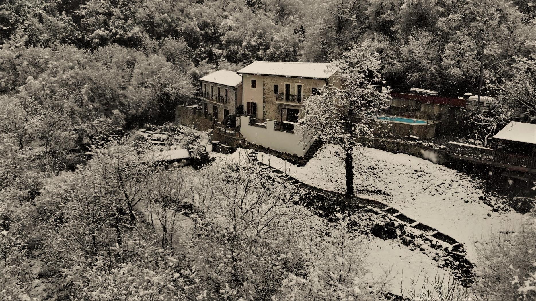 Villa Miela in late March snow
