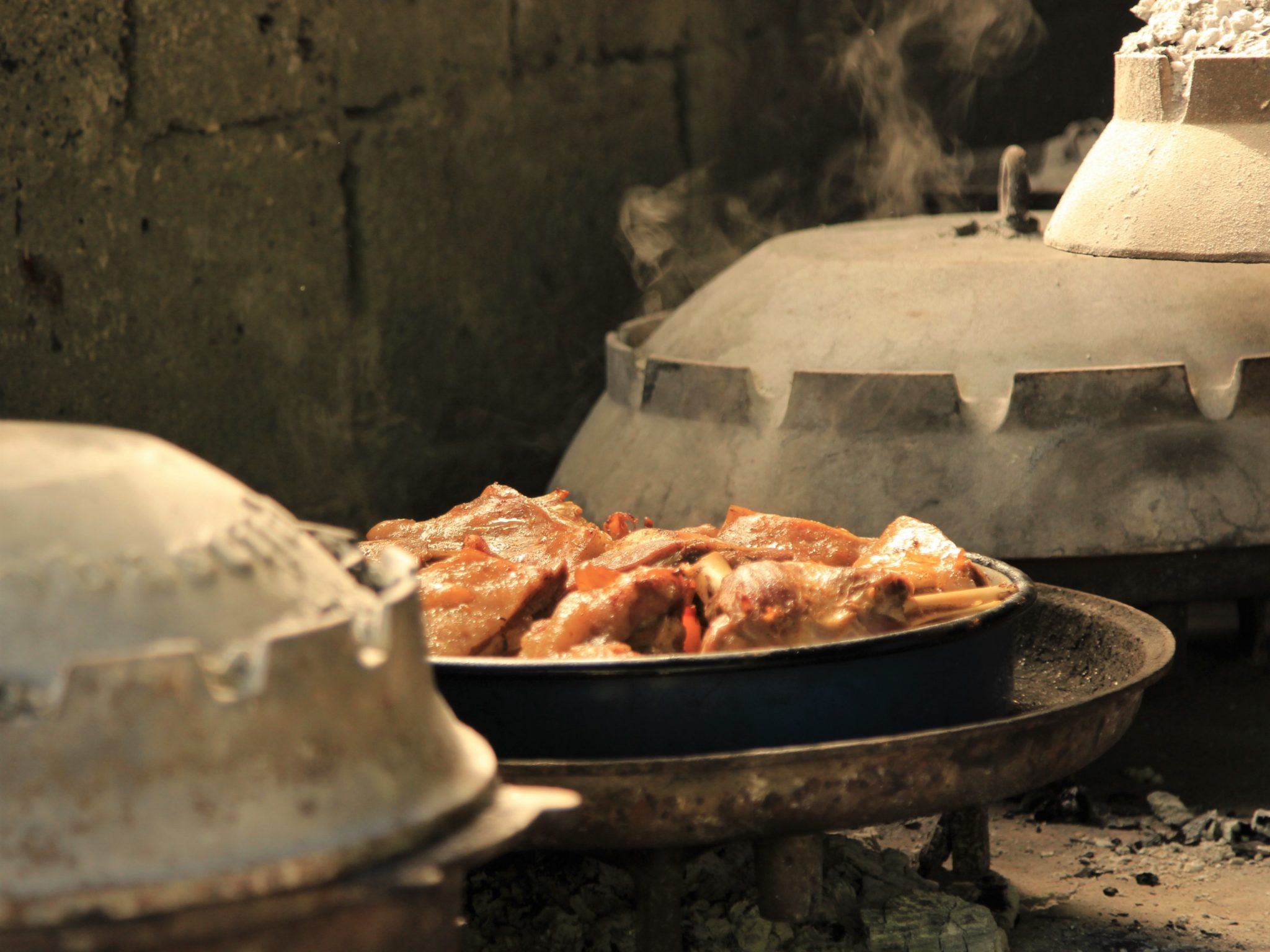 Lamb peka in the process of being cooked at the Roki restaurant on Vis Island in Croation