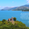 A remote island monastery at Lake Skadar with bright blue water, mountains and sunny sky in the background, plus white text with a quote from the German travel journalist Jorg Spaniol for Geo Saison recommending Undiscovered Montenegro