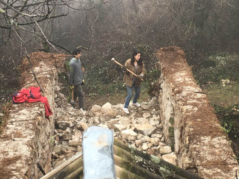 knocking down an old cow shed