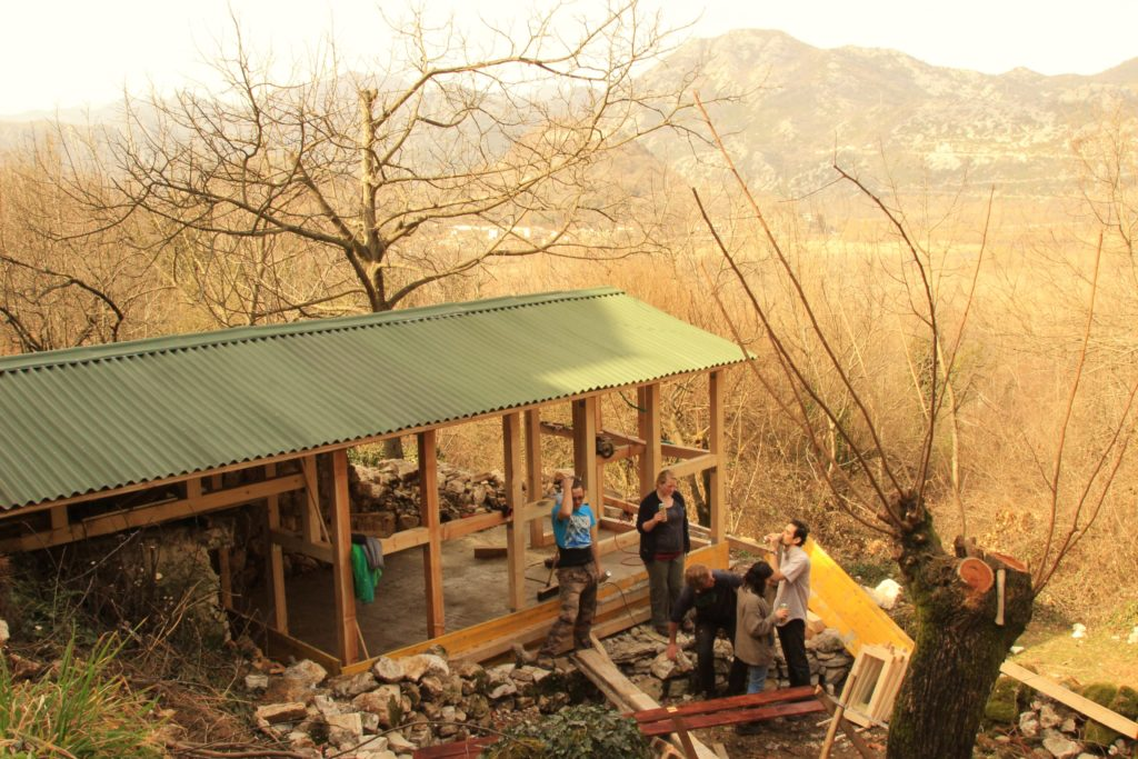 First-time builders constructing an eco-cabin